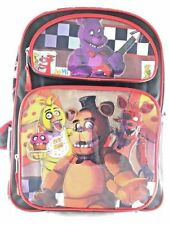 """Five Nights at Freddys Large Backpack 16"""" inches Boys School Book -Black Red"""