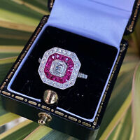 Art Deco Ruby and Diamond 18ct White Gold Ring 0.95ct