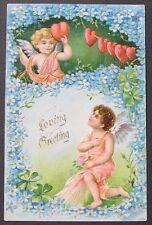 Valentine Day postcard CUPIDS Cherubs Fairies BLUE Flowers HEARTS 1910