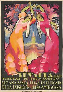 Original Vintage Poster Sevilla Fiesta Springtime 1930 Spain Flamenco Dancers