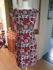 Red / Black / White patterned short cotton summer shift dress Handmade