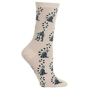 Lemurs Hot Sox Women's Crew Socks Taupe New Colorful Novelty Ring Tail Fashion