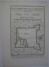 1740s ENGRAVING PLAN FORT SUKONDA GOLD COAST GHANA AFRICA ROYAL AFRICAN COMPANY