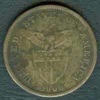 1908-S US Philippines 1 Peso United States of America Silver Coin - Stock #F3
