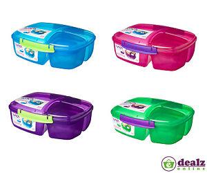 Sistema Triple Split Lunch Box 2L School Food Multi Compartment Yogurt Pot