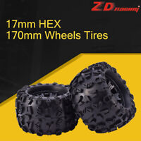 2pcs ZD Racing 17mm HEX 170mm Wheels Tires for Redcat HPI FLUX HSP 1/8 Monster