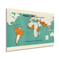 HISTORIX Vintage 1966 Map of Peace Corps Around The World