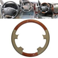 Tan Leather Wood Steering Wheel Cover for 04-09 Sienna Tacoma Highlander Camry