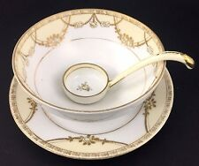Nippon Whipped Cream Bowl Ladle Noritake Vintage Hand Painted Gold Spoon Moriage