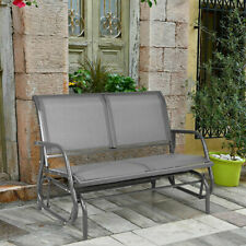 48' Outdoor Patio Swing Glider Bench Chair Loveseat Rocker Lounge Backyard Grey