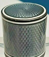 Rare French Sterling Silver Crystal Etched Glass Guilloche Enamel Perfume Bottle
