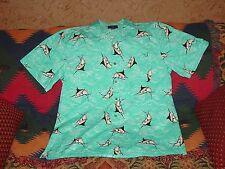 Mens Saddlebred Casual Tropical Hawaiian Shirt Marlin Deep Sea Fishing XL Button