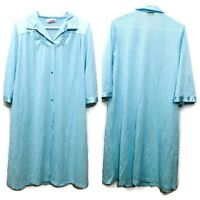Vintage Vanity Fair Blue Robe Nightgown Housecoat Nylon Size Medium Made in USA