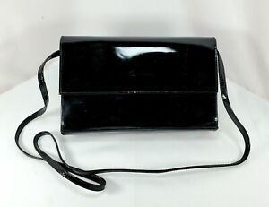 """Nordstrom Black Patent Leather Large Tote Bag Purse - 10"""" x 6"""""""