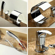 Bath Filler Tub Waterfall Faucet Tap With ABS Handheld 3 PCS Chrome Contemporary
