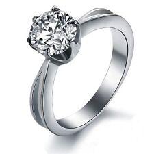 Platinum/Steel Alloy 1.5 Carat Brilliant Simulated Moissanite Ring Size 7 & 1/2