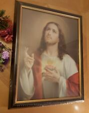 More details for sacred heart of jesus picture - wood frame 18x14 inches, print 16x12inches