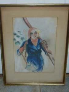 ORIGINAL ILLUSTRATION ART WOMEN SKIER 1920s EDWARD GALLAGHER