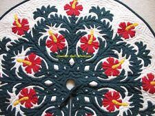 "Hawaiian quilt  CHRISTMAS TREE SKIRT 100% hand quilted/appliquéd HIBISCUS 42"""