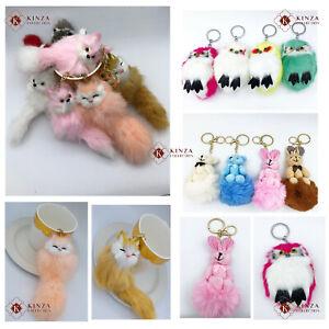 Soft Key Chain Lovely Fluffy Faux Fur Handbag Pendant Charm Pompom Cute Keyring