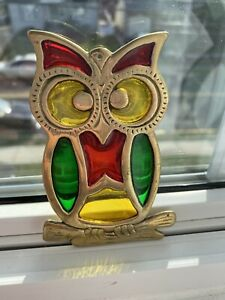 Vintage Stained glass Owl With Bronze Casting Beautiful Colors