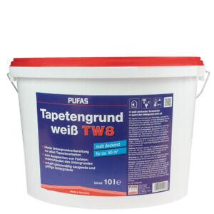 (3,50€/ L) Pufas Tapetengrund 10L weiss T8, Voranstrich