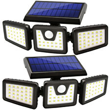Solar Lights Outdoor, LED Waterproof Motion Sensor Lights 3 Adjustable Heads 2PK