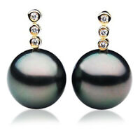 11mm Tahitian Black Pearl Diamond Earrings Pacific Pearls® Office Wear Jewellery