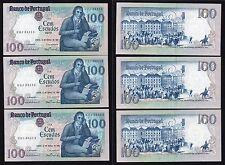 100 escudos ouro  Banco De Portugal 1985 SPL+/XF+ (3 banconote consecutive)  **