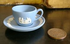 RETIRED WEDGWOOD MINIATURE JASPERWARE JASPER CUP & SAUCER ~ CLASSICAL C.1970's