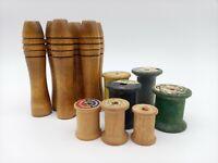 Textile Graduated Antique Vintage Primitive Wooden Thread Yarn Spool Bobbin lot