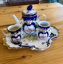 Limoges Hand Painted  Rose Tea Pot Set, Sugar Bowl / Tray/Charger Vtg