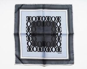 Tom Ford New Gray Light Blue White Geometric Pattern Silk Pocket Square