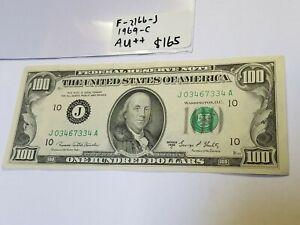 F-2166-J 1969-C $100 Nice Crisp! One Hundred Dollar Bill Kansas City Federal Res