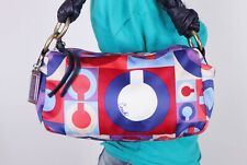 COACH Graphic Op Art Print Multicolor Shoulder Hobo Tote Satchel Purse Bag
