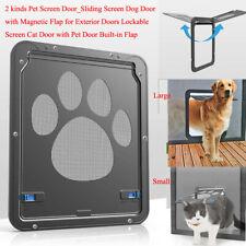 Pet Door-Sliding Screen Dog/Cat Door w/ Magnetic Built-in Flap for Exterior Door