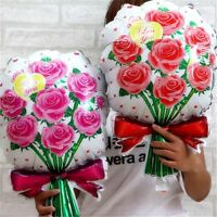 Valentine Anniversary Rose Bouquet Foil Balloons Party Decoration Inflatable