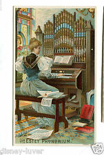 Victorian Trade Card ESTEY PHONORIUM Organ Brattleboro VT woman playing organ