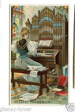 Victorian Trade Card ESTEY PHONORIUM Organ Brattleboro VT woman playing organ