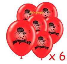 Miraculous Ladybug Latex Balloons (x6) Helium Ladybird Birthday Decoration