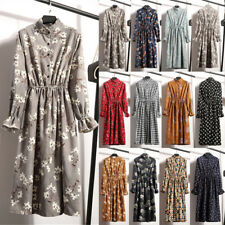 UK Vintage Womens Floral Swing Long Sleeve Ladies Casual Paty Long Shirt Dress