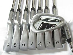Used RH Ping i20 Black Dot Iron Set 4-W,U Extra Stiff Flex Steel Shafts