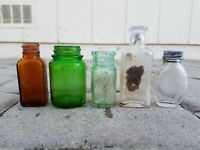 Dug Relics Old Medicine Bottles Amber, Clear, Emerald Green Aqua Colorful Lot