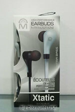 Mental Beats Xtatic High Performance Sound Extra Bass Earbuds w/ Mic - Silver