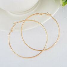 1Pair Classic Gold Smooth Large Round Thin Hoop Dangle Drop Earrings