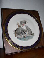 "Lenox/Boehm Woodland Wildlife Collector Plate 1973 ""Raccoons"" - All boxes & COA"