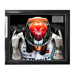 Lewis Hamilton 2019 Used Gloves Framed in Genuine Carbon Fibre - Mercedes F1
