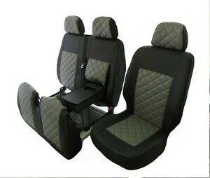 IVECO DAILY after 2015 LHD ECO LEATHER GREY Seat Covers 2+1