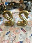 Vtg+Solid+Brass+Swan+Bookends+Korea+Heavy+Great+City+Traders+Pair+Set