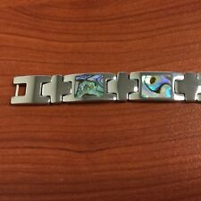 """Stainless Steel Inlaid Abalone Shell Bracelet 8"""" ( free gift box)"""